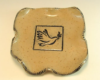 Peace Dove Pottery Spoon Rest/Change Holder/Candle Holder/Peace Dove