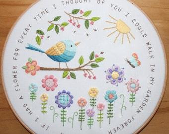 A Flower in My Garden Embroidery Pattern