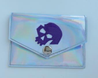 Snap Wallet Id Holder Holographic Rainbow vinyl with Purple Skull