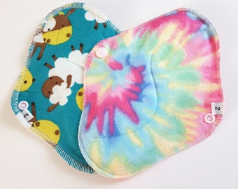 Set of 2 - Regular and Heavy Flow - Tie Dyed Swirl & Animal Printed Flannel Reusable Cloth Mama Pads . 8 Inch FREE Shipping