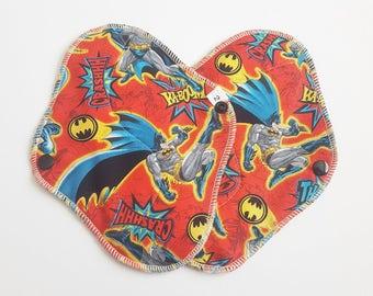 Set of 2 Cloth Menstrual Pads . Batman Printed Cotton . 8 Inch FREE Shipping
