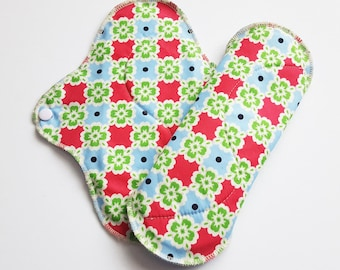 Set of 2 Pink Blue & Green Printed Cotton HEAVY Mama Cloth Pads .. 10 inches  ..  FREE Shipping