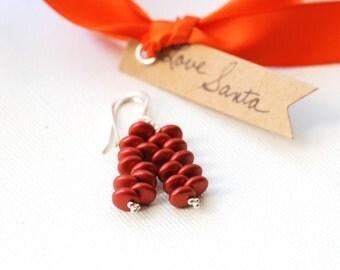 Stacked Earrings, Glass Earrings, Red Metallic Earrings, Metallic Red, Jeweltone Dangle Earrings, Sterling Silver, Everyday Earrings