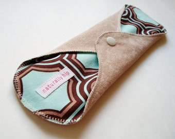 "10.5"" Suedecloth Heavy Cloth Menstrual Pad, Beige Brown Blue Geometric, Incontinence Pad, Mama Cloth Moon Pad Cloth San Pro CSP Feminine Pad"