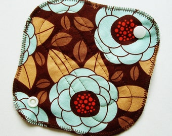 6in 15cm Cotton Panty Liner Cloth Menstrual Pad, Flowers Floral Brown Blue Tan, Washable Reusable, Incontinence Pad Liner, Cloth Sanpro CSP