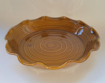 Amber Pie Pan - Pie Plate - Quiche Pan -  Baker - Dish - Wheel Thrown Pottery with Chattered Texture
