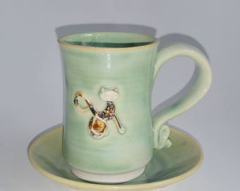 Green Demitasse or Espresso Cup Embellished with a Tortie Kitty Cat - Cup and Saucer - Wheel Thrown Pottery
