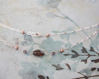 Smokey Brown Quartz, Freshwater Pearl, Sterling Silver Necklace