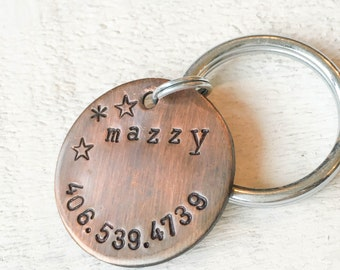 Our dog tags make a unique personalized gift. Each pet id tag is crafted in our Bozeman, Montana studio by dog lovers. Snazzy Mazzy Pet Tag