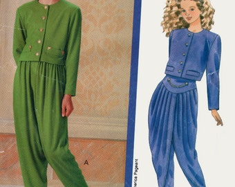 Vintage 90s Girls MC Hammer Pants Harem Pants Yoga Pants Sewing Pattern Butterick 5016 Miss Americia Collection Sewing Pattern Size 7-8-10
