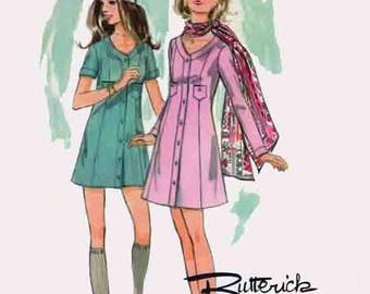 Vintage Butterick Boutique 5735 Sewing Pattern 70s MINI Coat Dress Retro Style 1970s Original Sewing Pattern Size 10 Bust 32.5