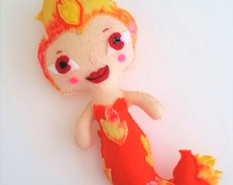 Mermaid Fire Girl Handmade Felt Art Doll