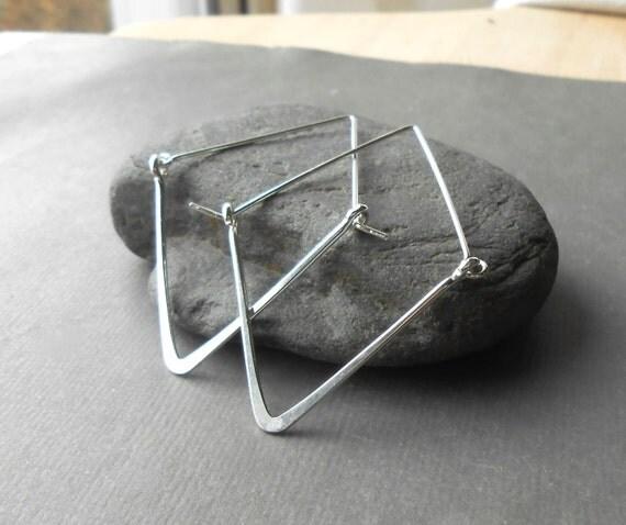 Sterling Silver Minimalist Triangle Hoop Earrings
