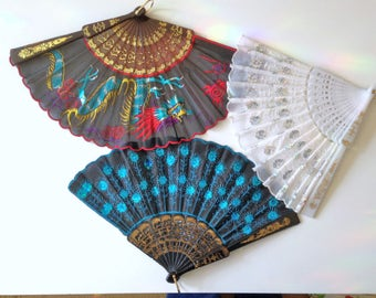 THREE Vintage Hand Fans Embroidered Dragon And Sequins Designs Black Fan White Fan