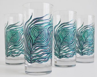 Peacock Feather Glassware - Everyday Drinking Glasses - Set of 4 Hand Painted Glasses