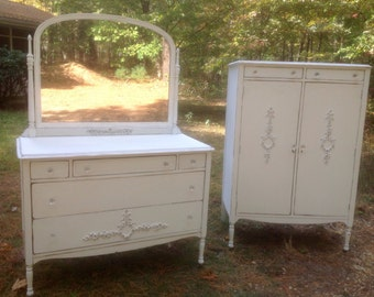 Shabby Chic Cottage Mirrored Dresser Bureau Painted Cottage White