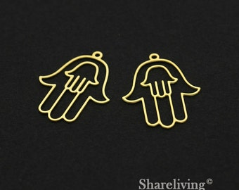 Exclusive - 6pcs Raw Brass Hamsa Charm / Pendant,  Fit For Necklace, Earring, Brooch  - TG346