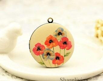 1pcs Vintage Floral Necklace , Retro Bronze Brass Flower Locket Charm Pendant 32mm 25mm 20mm Locket - HLK145Q