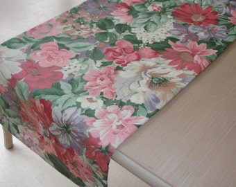"""84"""" Table Runner 210cm Chintz Pink Purple and Green Flowers 7ft Overlay Piano Sideboard Topper"""