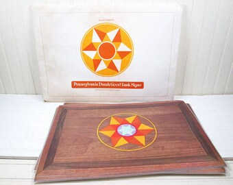 Vintage Current Inc Placemats Set Pennsylvania Dutch Hex Signs Good Luck Laminated Paper