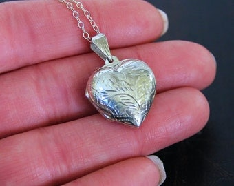 Sterling Silver Heart Locket Necklace - Keepsake Treasure Gift