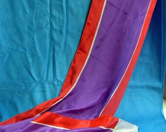 Vintage Anne Klein Long Silk Red, White, and Purple  56 inches Long Scarf Signed Anne Klein