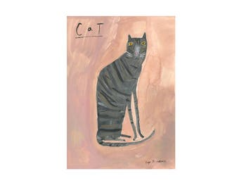 Cat on Pink Poster Print | Home Decor | Gifts for her