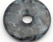 Norwegian moonstone donut pendant, flat round black and grey larvikite semiprecious stone 40mm
