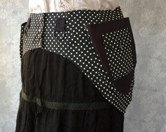 Polka dot utility belt - black canvas utility belt pocket belt - Burning desert Man festival belt - steampunk utility belt - Small