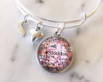 Stockton California Vintage Map Charm Bangle Bracelet - Adjustable Bangle Bracelet - Stacking Bracelet - Map Jewelry - Portsmouth Bracelet