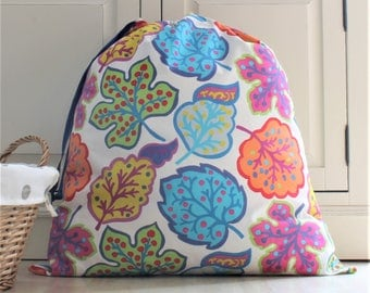 Extra Large Laundry Bag in Sanderson Jewel Leaf Fabric - Travel, Holiday, Shoe Bag, Linen Bag