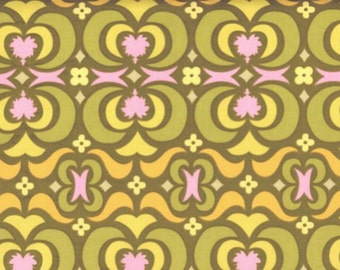 Amy Butler Midwest Modern Garden Maze in Olive Modern Geometric Print Olive Green Pink AB23-olive cotton fabric by the yard