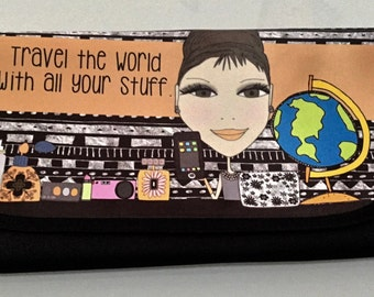 Travel wrap bag - cosmetics, toiletries, jewelry - Travel the World with all your stuff.