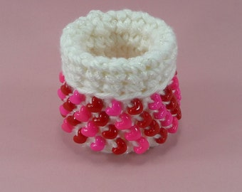 BEADED BASKET Valentines Day Hearts Red White Hot Pink Crochet Small Mini Cute Sturdy Bowl Container Storage Girls Room Gift For Her