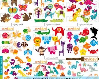 Animals clipart sale bundle, commercial use printable clip art / bugs, wild animals, dinosaur, woodland animals, digital images