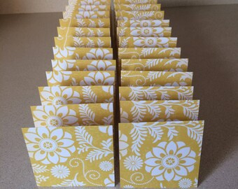 Mini Cards 24 Yellow Flowers - blank for thank you notes 3 x 3