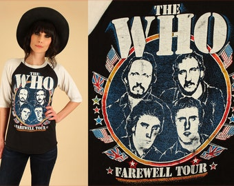 ViNtAgE 1982 THE WHO Tour Shirt // Black White Raglan 80s Rock T-Shirt Concert Small Medium S M