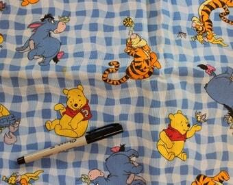 Winnie the Pooh , Tigger, Eeyore blue check  100% cotton fabric by Disney