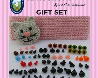 Amigurumi Assortment Starter or Gift Set  Safety Eyes and Noses for Sewing, Crochet, Amigurumi, Knitting,Teddy Bears, Dolls, Cats, AMIG-3