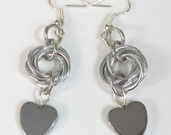 Love Knots - Chainmaille Mobius with Hematite Heart Earrings