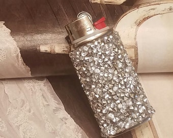 Bic Mini Lighter Case/Silver Sparkle