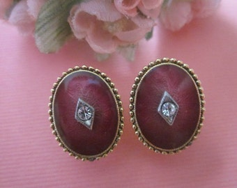 Vintage Guilloche' Enamel Earrings clip earrings