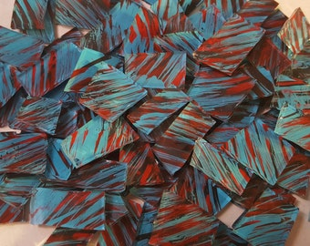 Mosaic Tiles BLUE RED BLACK Glass Mosaic Tile Mosaic Supplies Mosaic Pieces Stained Glass