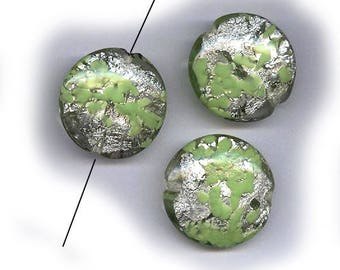 vintage art glass beads CHARTREUSE tabular shape SILVER FOIL, 22mm - 24mm aventurina, three large beads murano glass antique beads