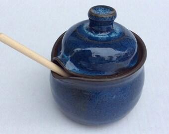 blue ceramic honey pot- sugar bowl-  pottery- handmade -in stock
