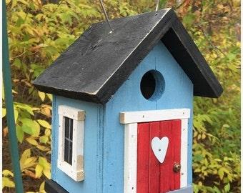 Snow Storm Sale Primitive Caroli a Blue and Black Cozy Songbird Birdhouse Red Door