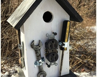 Snow Storm Sale Primitive Birdhouse Tools Handyman Unique OOAK