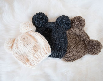 Baby Knit Hat / Child Chunky Beanie /  Baby Bear Knit Hat Pom Poms / Baby Knit Baby Hat / Bear Knit Child Hat