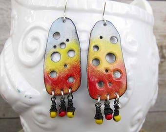 gypsy earrings Big earrings red enamel earrings Bohemian jewelry boho earrings Artisan hippie earrings yellow earrings