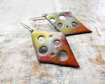 Enamel earrings - Geometric earrings - Orange earrings - boho earrings - torch fire rustic enamel Artisan jewelry